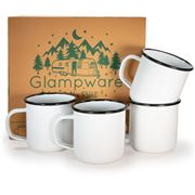 Golden Rabbit - Glampware Rolled Black Rim Mug Set 4pce