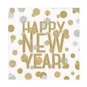 Caspari - Happy New Year Cocktail Napkins Gold/White 20pce