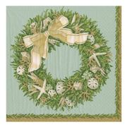 Caspari - Shell Wreath Napkins Pale Blue 20pce
