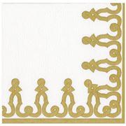 Caspari - Passementerie Paper Linen Napkins Gold Large 12pce