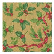 Caspari - Holly Toss Lunch Napkins Gold 20pce
