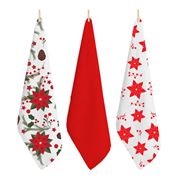 Rans - Red Flowers Tea Towel 50x70cm Set 3pce