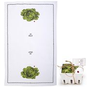 Two's Company - Farm-To-Table Tea Towel In Crate Lettuce