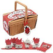 Schylling - Ladybug Tea Set In A Picnic Basket 21pce