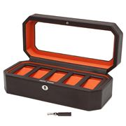 Wolf - Windsor Watch Box For Five Watches Brown/Orange