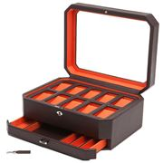Wolf - Windsor Watch Box For Ten Watches Brown/Orange w/Draw