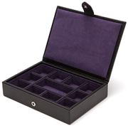 Wolf - Blake Cufflink/Tie Bar Box Black Pebble