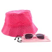 Freckles - Kids Hats & Sunglasses Pack Hot Pink Spots 2pce