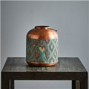Peter's - Fez Antique Copper Perforated Hurricane Lamp