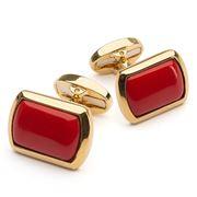 Halcyon Days - Deep Red & Gold Rectangular Cufflinks