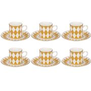 Halcyon Days - Parterre Coffee Cup & Saucer Gold Set 12pce