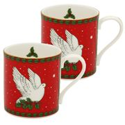 Halcyon Days - Dove of Peace Red Mug Set 2pce