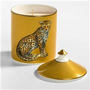 Halcyon Days -  Lidded Leopard Candle Jasmine Gold