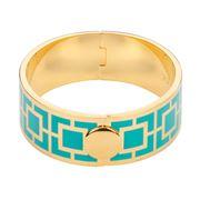 Halcyon Days -  Maya Hinged Bangle Turquoise & Gold