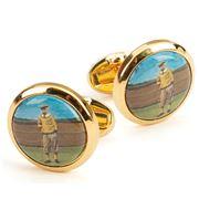 Halcyon Days - 1920's Golfer Round Gold Cufflinks