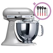 KitchenAid - KSM150 Contour Silver Stand Mixer + Utensil Set