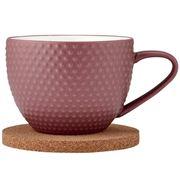 Ladelle - Abode Textured Mug & Coaster Dark Rose