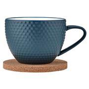 Ladelle - Abode Textured Mug & Coaster Ink Blue
