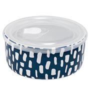 Ladelle - Abode Microwave Food Bowl Ink Blue Dashes