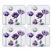 Ashdene - Purple Poppies Collection Coaster Set 4pce