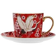 Ashdene - Osaka Collection Red Cranes Teacup & Saucer 230ml