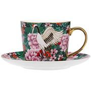 Ashdene - Osaka Collection Emerald Cranes Teacup & Saucer