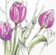 IHR - Lunch Napkin Colourful Tulips Pink 20pce