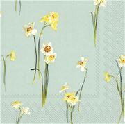IHR - Lunch Napkin Elegant Narcissus Light Blue 20pce