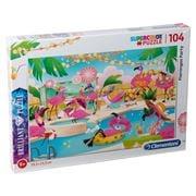 Clementoni - Flamingos Party S.Color Brilliant Puzzle 104pce