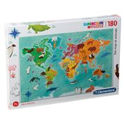 Clementoni - The Map of Animals Supercolor Puzzle 180pce