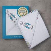 Bubba Blue - Peter Rabbit Hooded Towel White 80x80cm