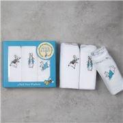 Bubba Blue - Peter Rabbit Face Washers White Set 3pce