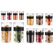 Bodum - Presso Clear Durable Storage Jar Black Set 12pce