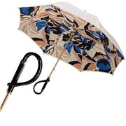Pasotti - Umbrella Double Cloth Onde Black Curved Handle Cre