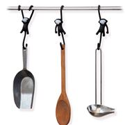 Monkey Business - Just Hanging Monkey Kitchen Hooks Black