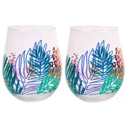 SunnyLife - Stemless Cocktail Glasses Electric Bloom
