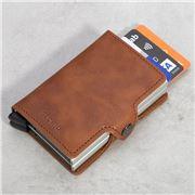 Secrid - Vintage Leather Cognac Silver Twin Wallet