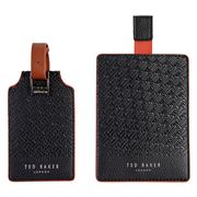 Ted Baker - Black T Passport & Luggage Tag Set 2pce