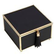 Flair Decor - Black & Gold Tassel Jewellery Box 15x9x15cm