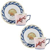 Richard Ginori - L. Edward Hall Espresso Cup/Saucer Set 2pce