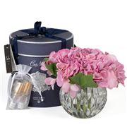 Cote Noire - Hydrangeas Mauve Clear Round Vase