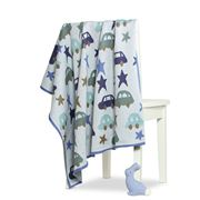 DLUX Baby - Cars and Stars Cotton Knitted Blanket Blue