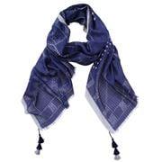 DLUX - Rory Cotton/Silk Print Wrap Navy