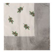 Marc's - Golden Holly Silver Napkins 33x33cm 20pce