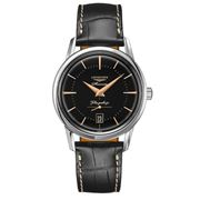 Longines - Flagship Heritage S/S Blk w/Pnk Hand Watch 38.5mm