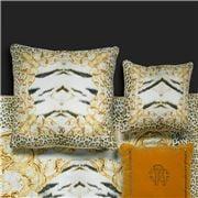 Roberto Cavalli - Tiger Frame Silk Cushion Gold 40x40cm