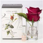 Cote Noire - Carmine Rose Bud Clear Glass w/Silver Crest