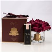Cote Noire - Five Carmine Red Roses Clear Glass Gold Crest