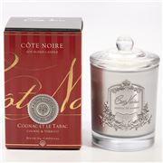 Cote Noire - Cognac & Tobacco Candle w/Silver Crest 185g