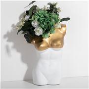 Sophia - Vase Torso Woman Extra Large White & Gold